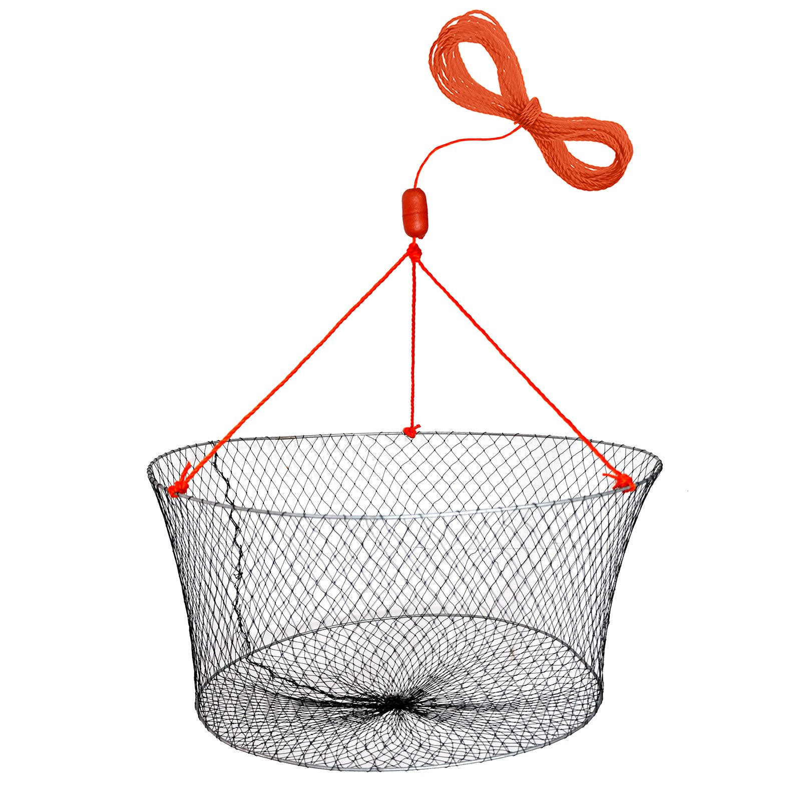 "Palmyth Crab Nets Two Ring Wire Crabbing Lobster Shrimp Pier Net with 50' Rope and Bait Clip 23.6"" X 19.7"" X 11"""