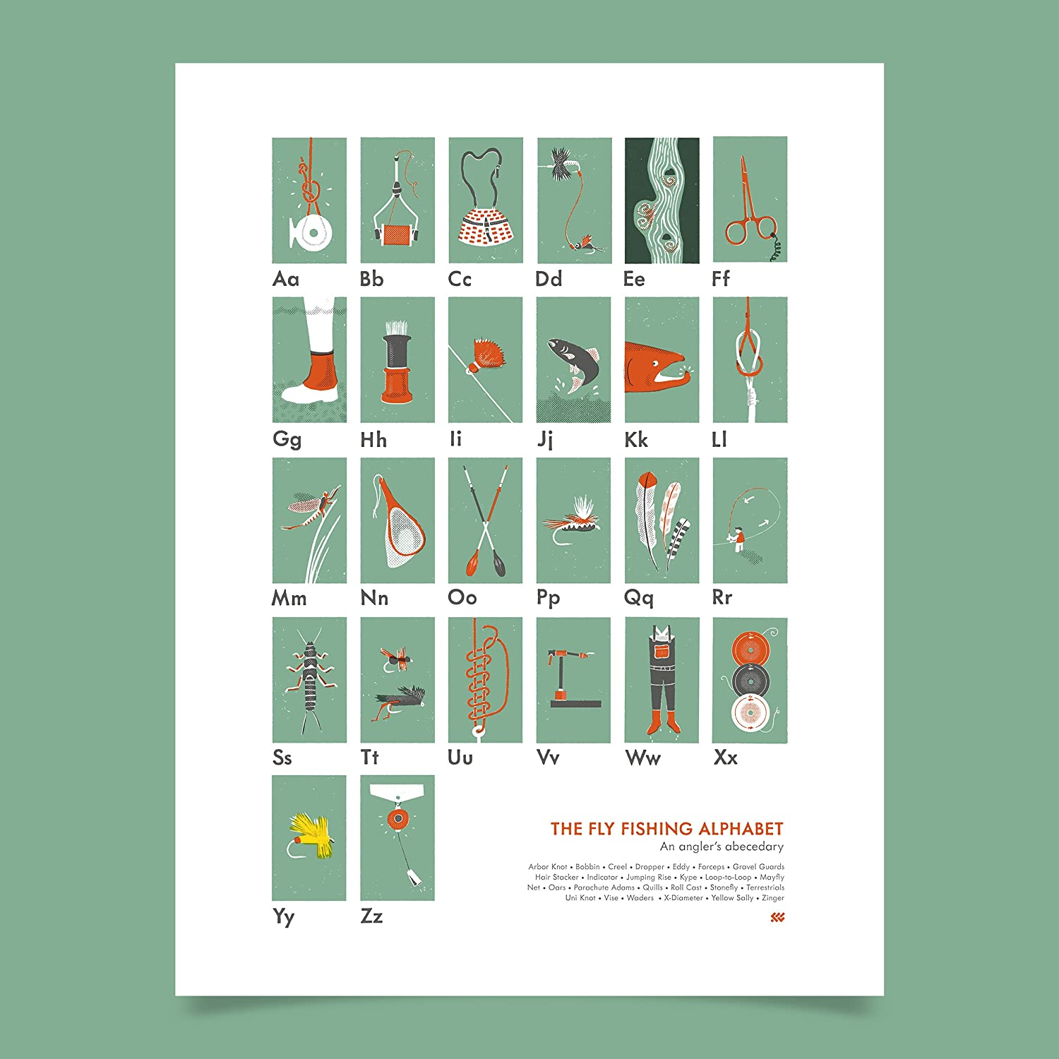 """Screen Printed Fly Fishing Poster The Fly Fishing Alphabet 18/"""" x 24/"""" Poster Outdoorsman Gifts Great Home or Office D/écor Fly Fishing Gifts"""