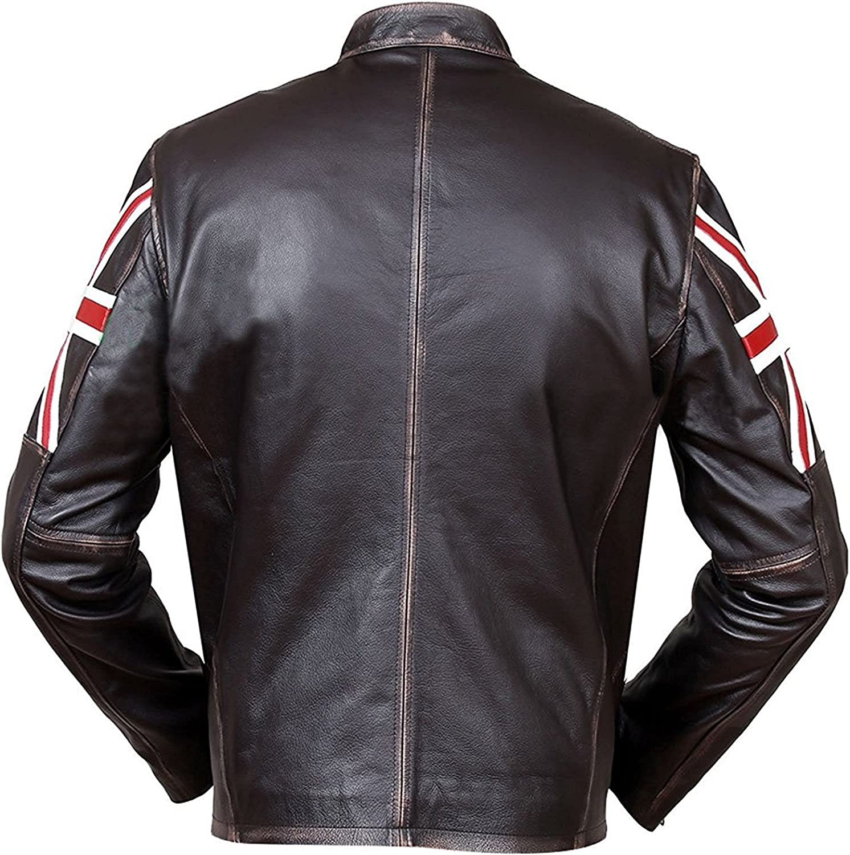 Giacca da motociclista vintage da uomo in pelle anticata