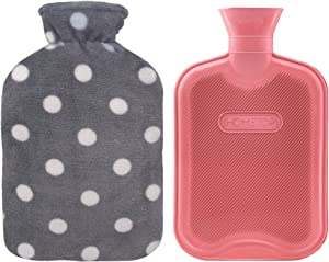HomeTop Premium Classic Rubber Hot or Cold Water Bottle with Soft Fleece Cover (2 Liters,Red)