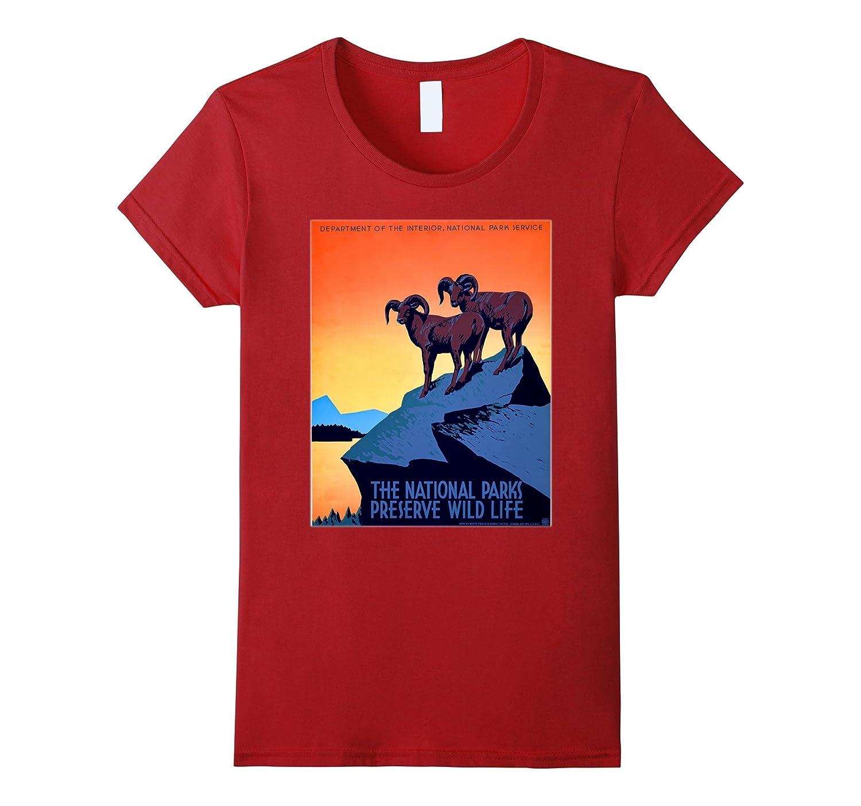 National Parks Vintage Art Poster Bighorn Wildlife Nature