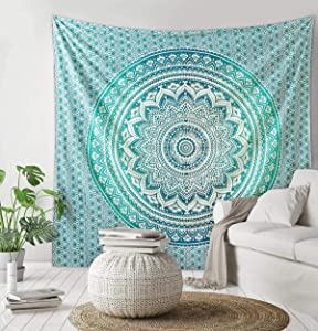 THE ART BOX Tapestry Green Mandala Wall Hanging Psychedelic Tapestries Indian Cotton Bedspread Picnic Sheet Wall Decor Blanket Wall Art Hippie Bedroom Décor