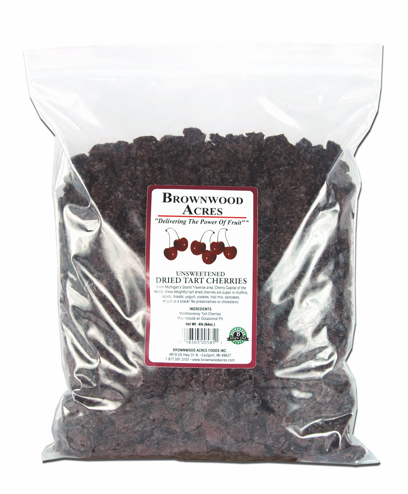 Unsweetened Dried Cherries by Brownwood Acres - No Added Sugars, Oils or fillers - Just Cherries! (4 Pound)