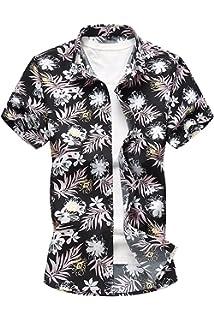 c0b6ccd07 Jumojufol Hombres Tropcial Causal Flor Imprimir Botón Abajo Camisa Hawaiana  De Playa