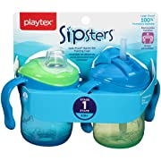 Playtex Sipsters Stage 1 Spill-Proof, Leak-Proof, Break-Proof Sippy Cups Starter Set - 6 Ounce - 2 Count (Color May Vary)