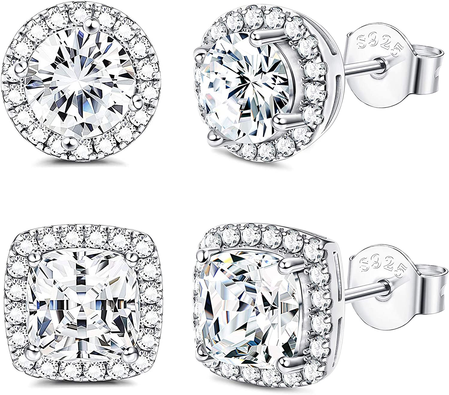 Platinum Plated 9mm Silver Halo Cubic Zirconia Crystal Stud Earrings Gift Box