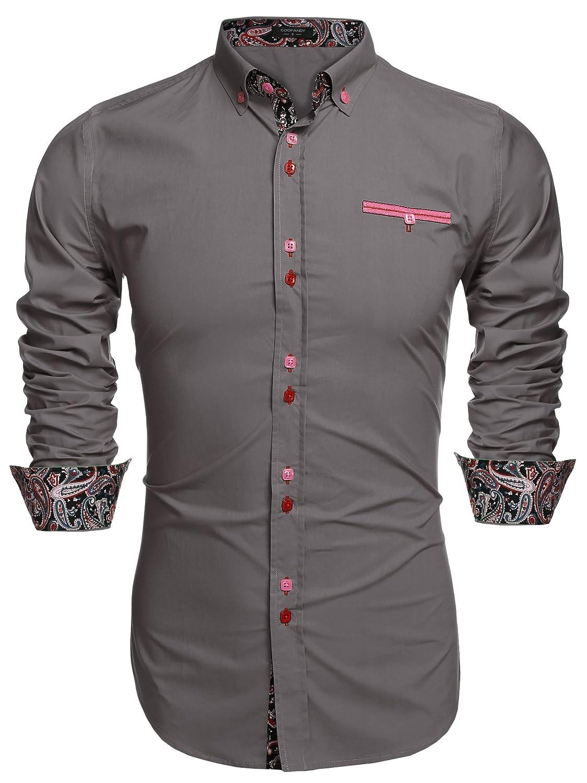 Qiangjinjiu Men Long Sleeved Casual Printted Turn Down Collar Fashional Slim Fitted Dress Shirts