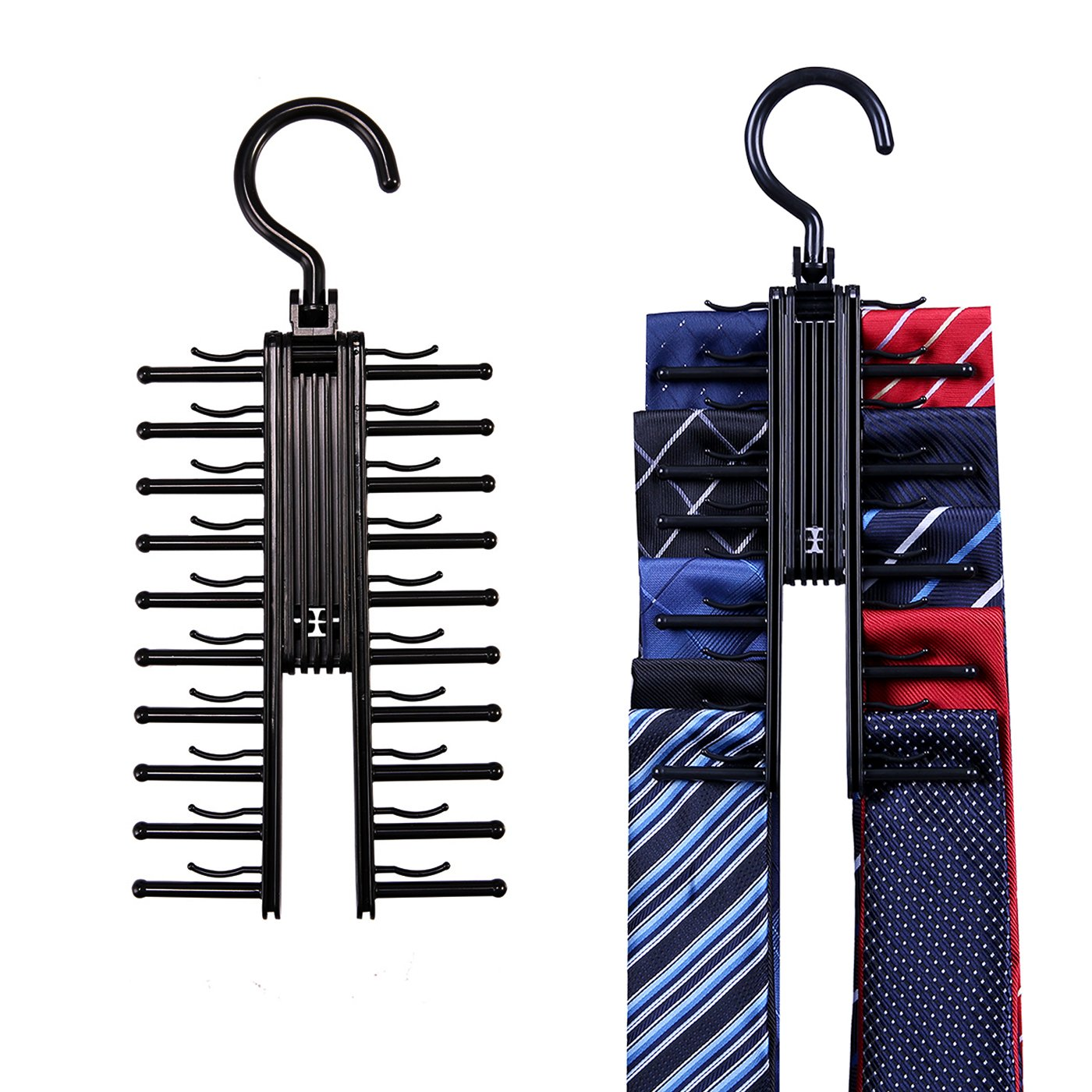 HDE Closet Tie Rack Hanger 2 Pack Organizer Compact Non-Slip Rotating Cross Design Rack Securely Holds up to 20 Neck Ties Belts or Scarves