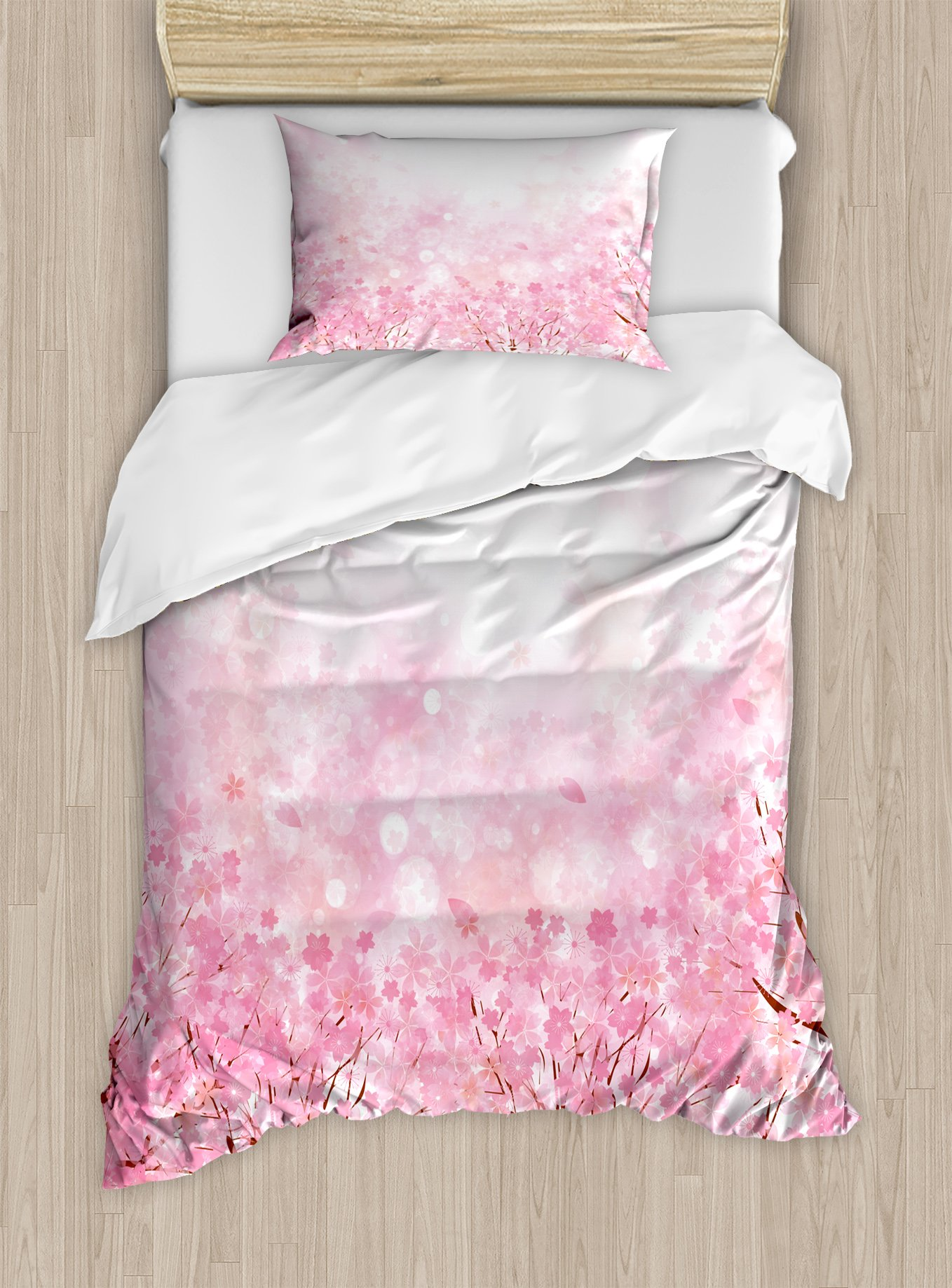 Ambesonne Pale Pink Duvet Cover Set Twin Size, Japanese Cherry Blossom Sakura Tree with Romantic Influence Asian Nature Theme, Decorative 2 Piece Bedding Set with 1 Pillow Sham, Baby Pink