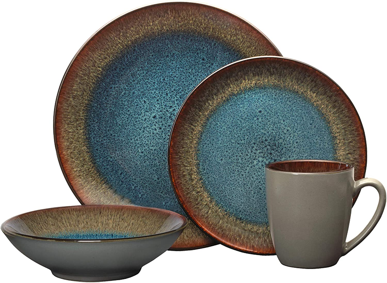 Pfaltzgraff Monroe Blue 16-Piece Dinnerware Set, Assorted