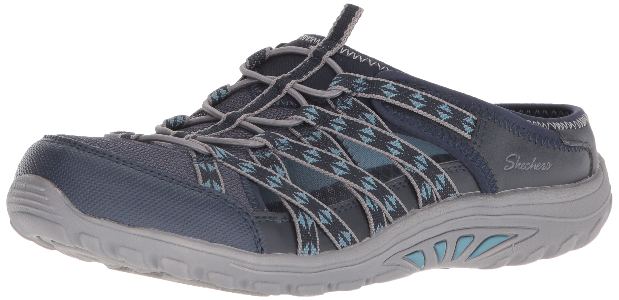 Skechers Women's Reggae Fest-Marlin-Fisherman Open Back Mule Relaxed Fit & A/C Memory Foam Water Shoe Navy 5.5 M US
