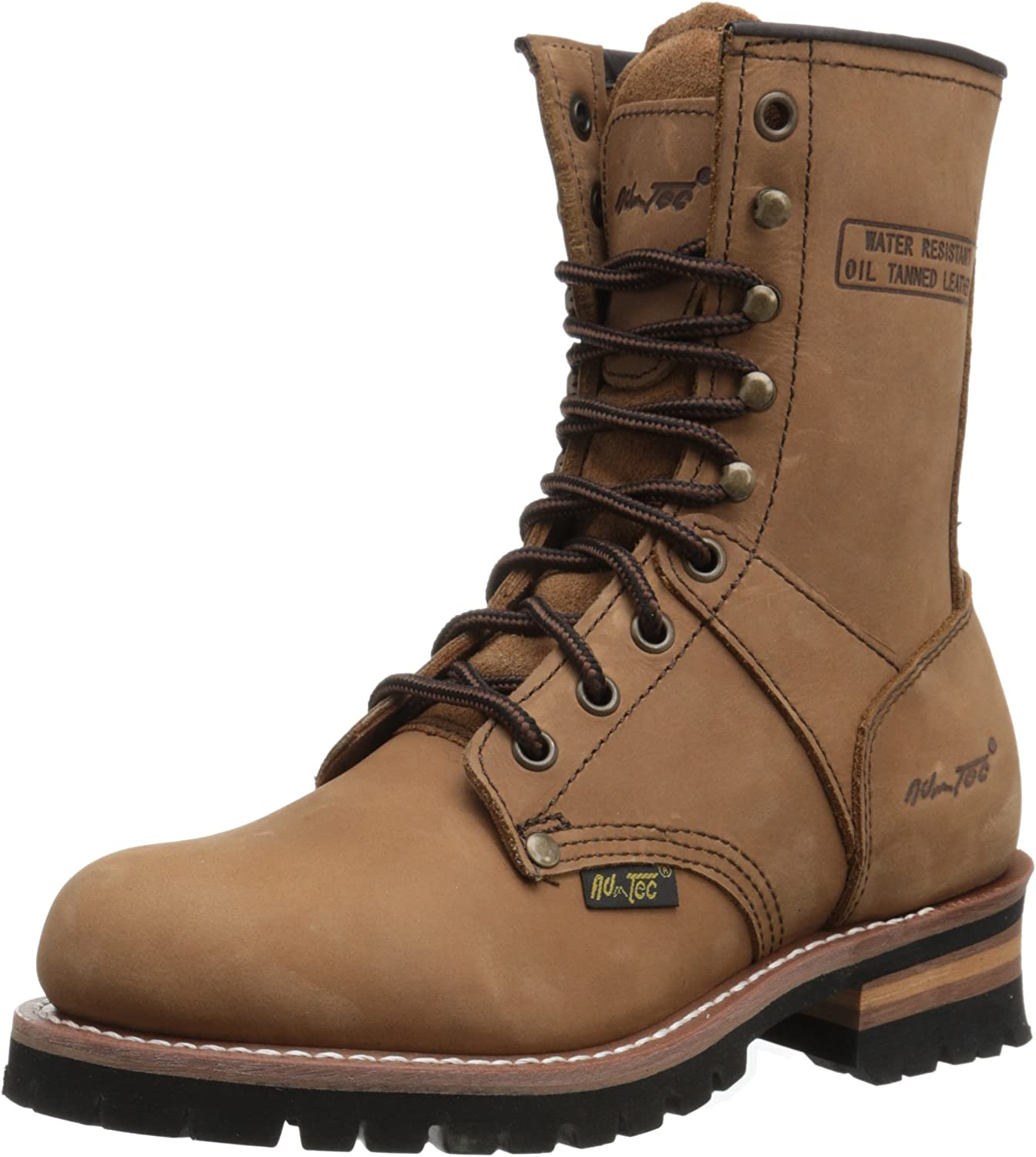 "AdTec womens Women's 9"" Brown-w Logger Boot, Brown, 7.5 US"