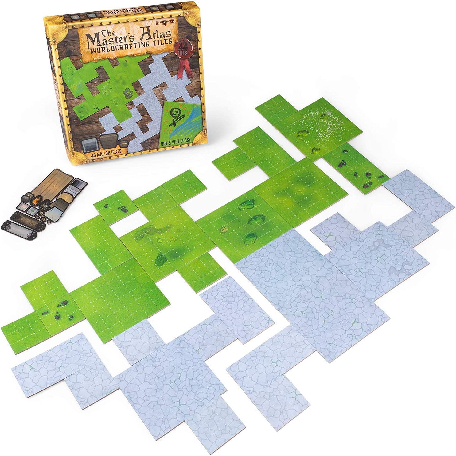 The Master's Atlas (Grass/Stone) | 44 Reversible Dry & Wet Erase Map Grid Tiles | 48 Dungeon Object Tokens: Treasure, Doors, Stairs and More | RPG Tabletop Role Playing Mats for Fantasy Gaming