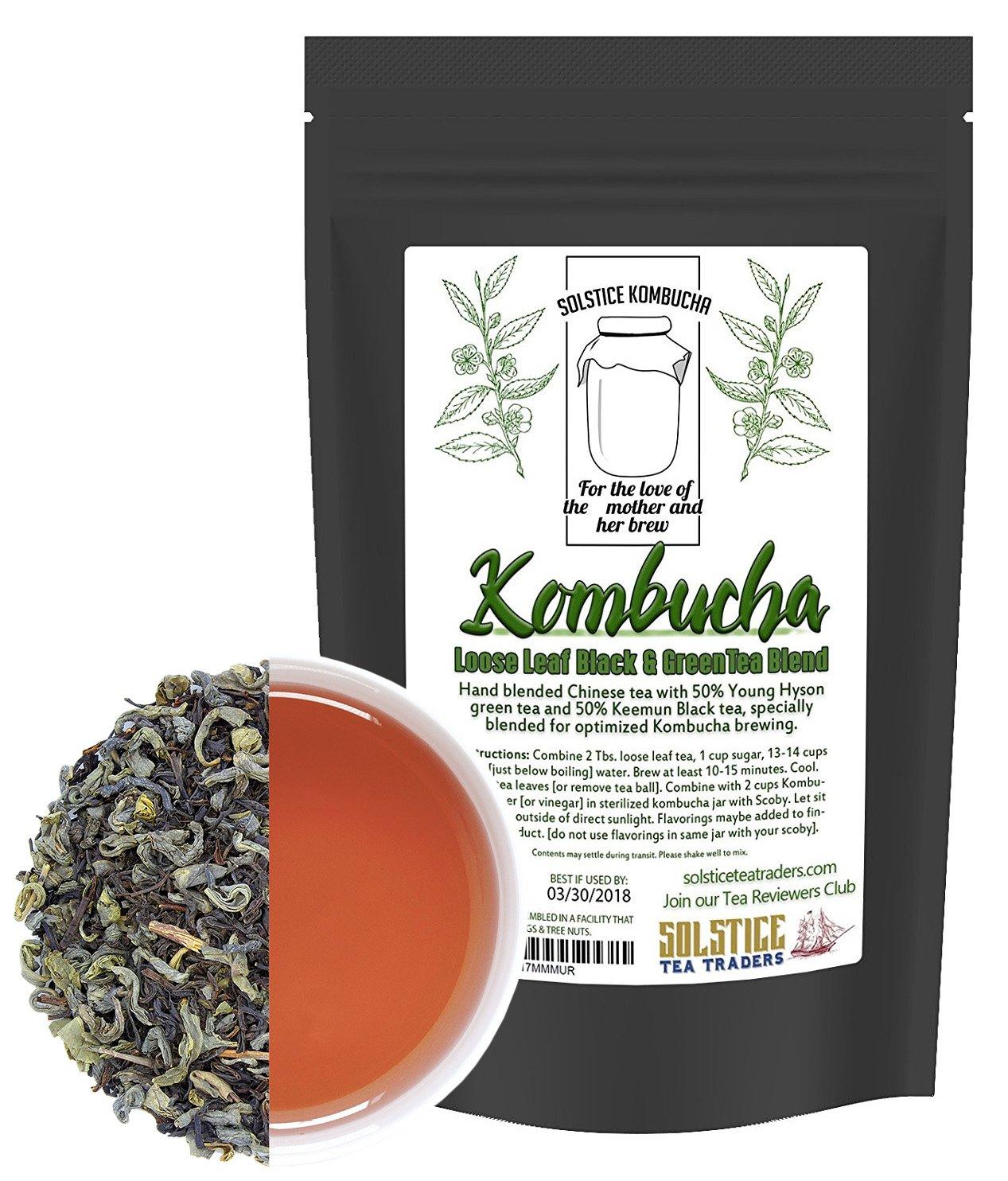 Kombucha Loose Leaf Black and Green Tea 50/50 Blend, 120 Servings, Keemun Black & China Young Hyson Green Tea for Brewing Kombucha (8-Ounces Total)