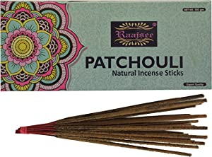 raajsee Incense Sticks Patchouli 100 gm Pack-100% Pure Organic Natural Hand Rolled Free from Chemicals-Perfect for Church,Aromatherapy,Relaxation,Meditation,Positivity & Sensual Therapy 100 GMS Pack