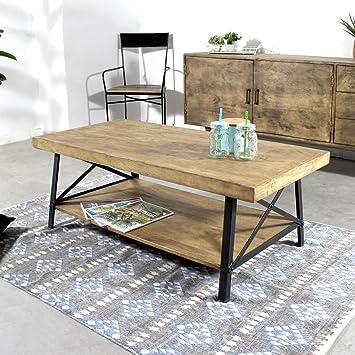Plateau Et Table Basse Métal Madeinmeuble Double Bois Industrielle wXN0OZ8nPk