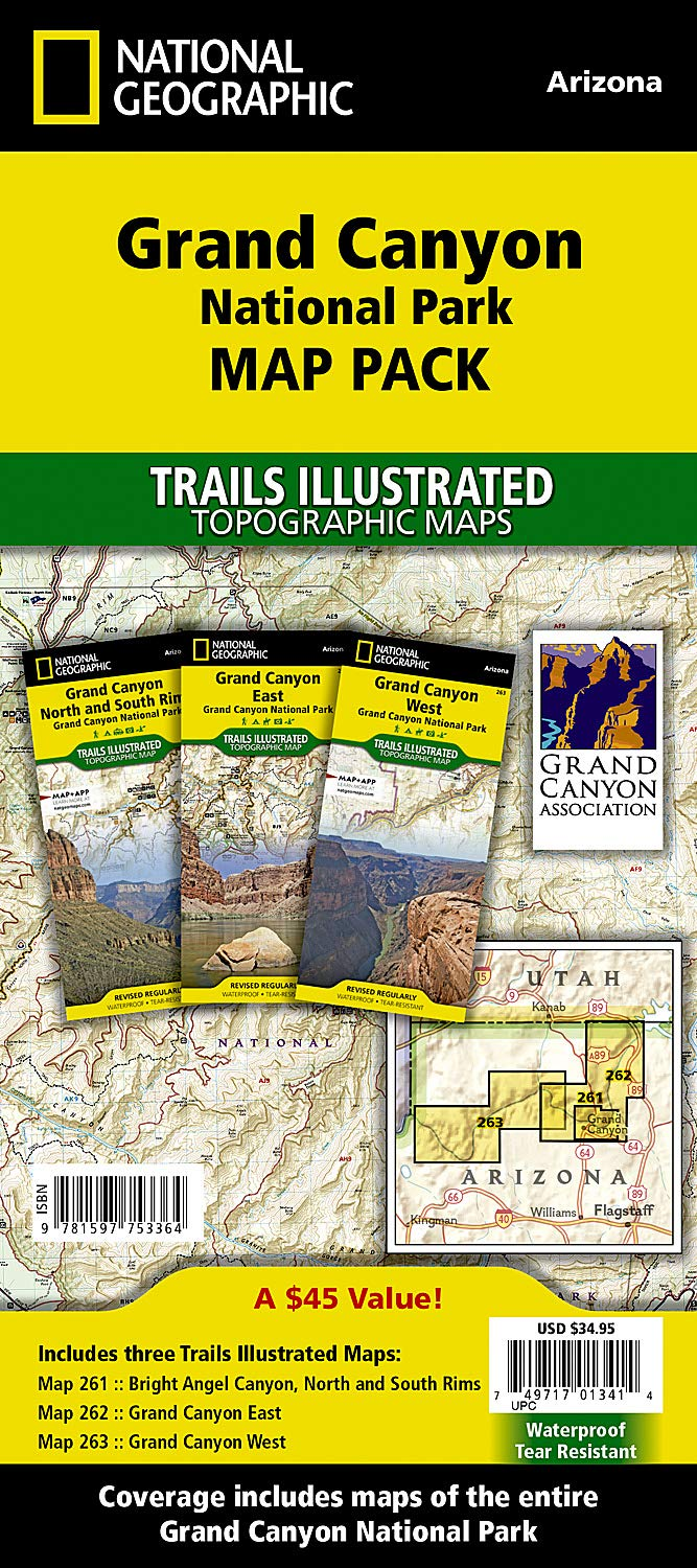 Travel Map Of Arizona.Grand Canyon National Park Map Pack Bundle National Geographic