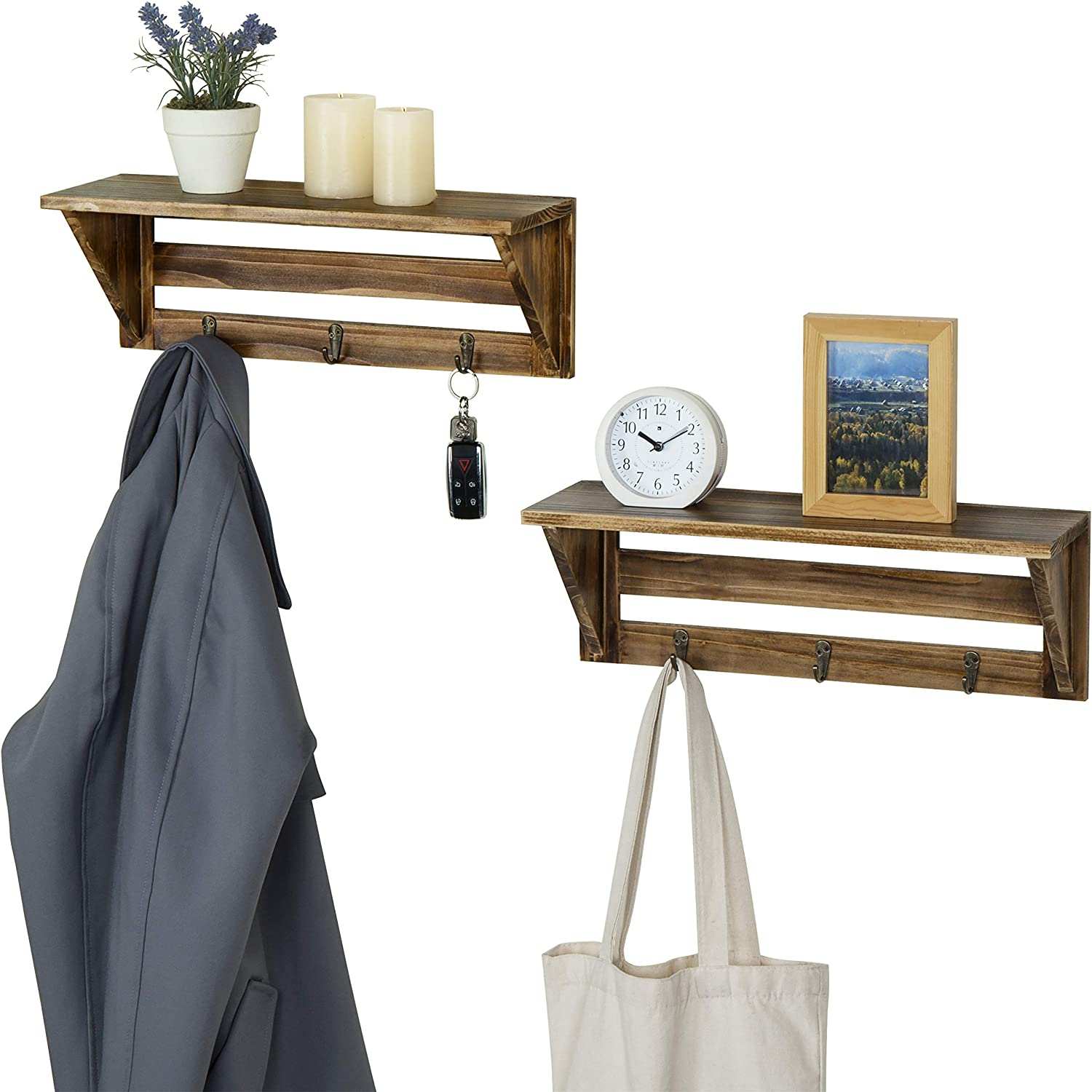 MyGift Rustic Wood Wall-Mounted Decorative Display Shelves with Key Hooks, Set of 2
