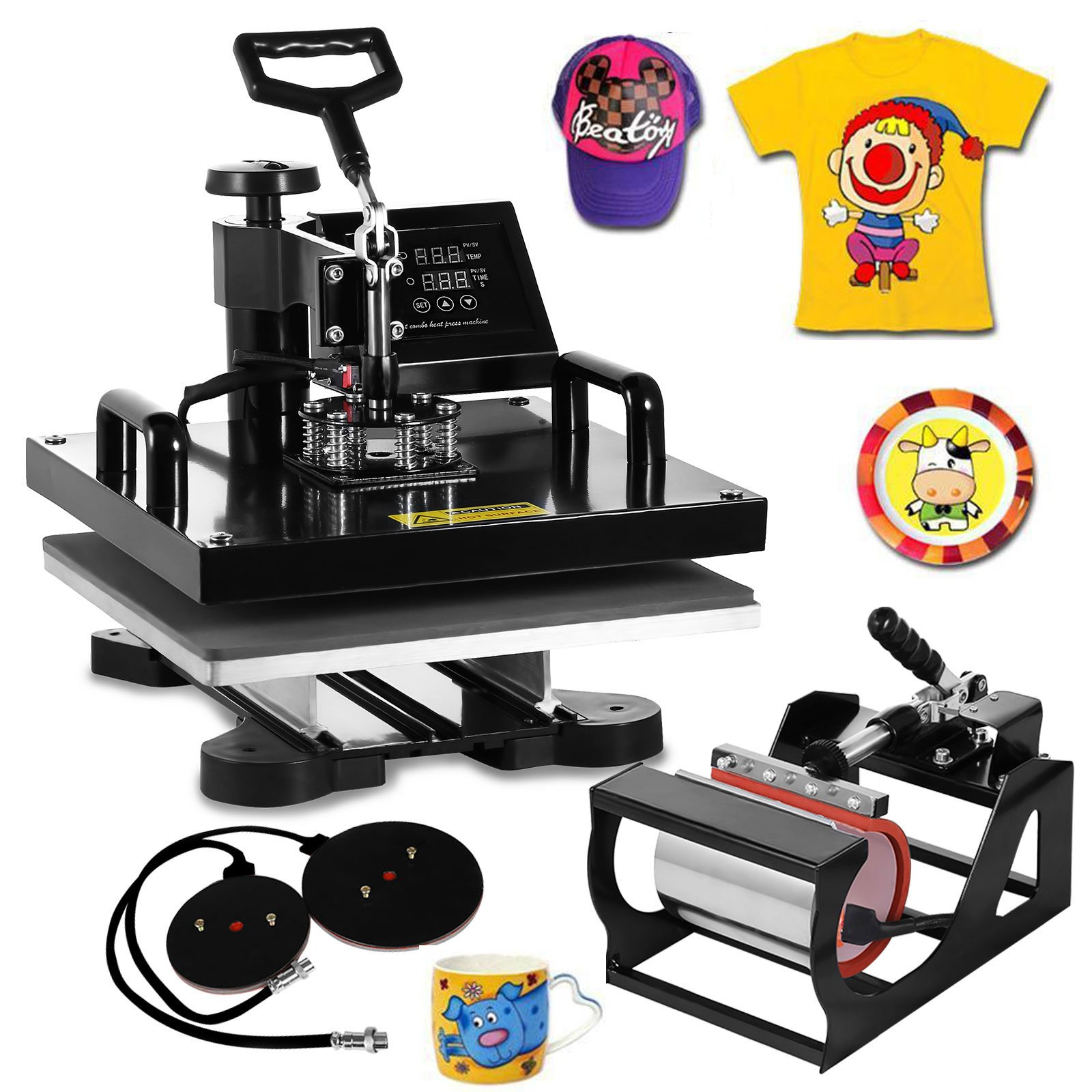DeEtt 15''x15'' 5IN1 Combo T-Shirt Heat Press 360 Degree Rotation Swing Away Heat Press Machine Slide Rail Design Mug Hat Pressing (15''x15'' 5IN1) by DeEtt