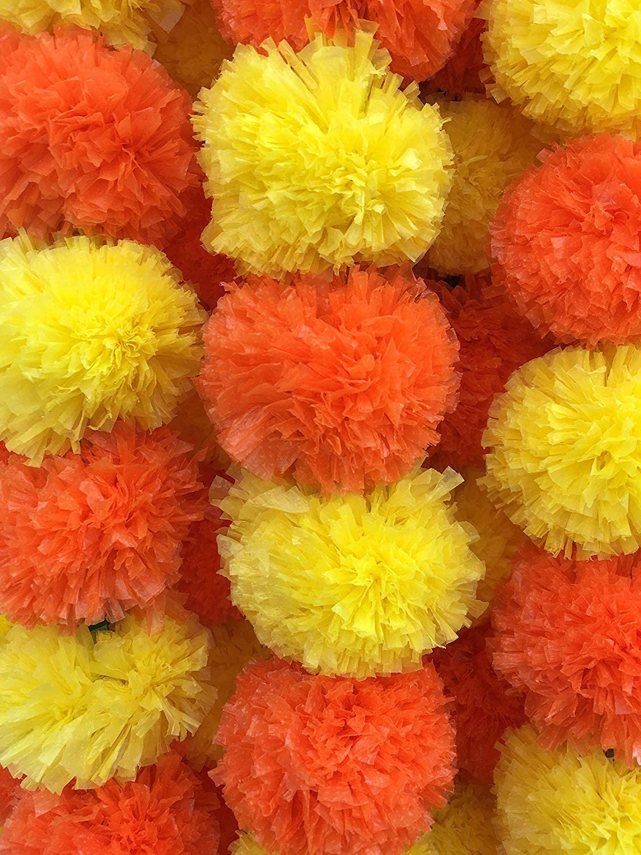 Sharvgun Artificial Flower Marigold Garlands, Indian Marigold Garland, Marigold Flower Garland for Decoration 5 Feet Long (Dark Orange-Yellow, 5)