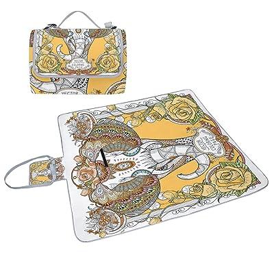 Coosun Splendid éléphant Couverture de pique-nique Sac pratique Tapis résistant aux moisissures et étanche Tapis de camping pour les pique-niques, les plages, randonnée, Voyage, Rving et sor
