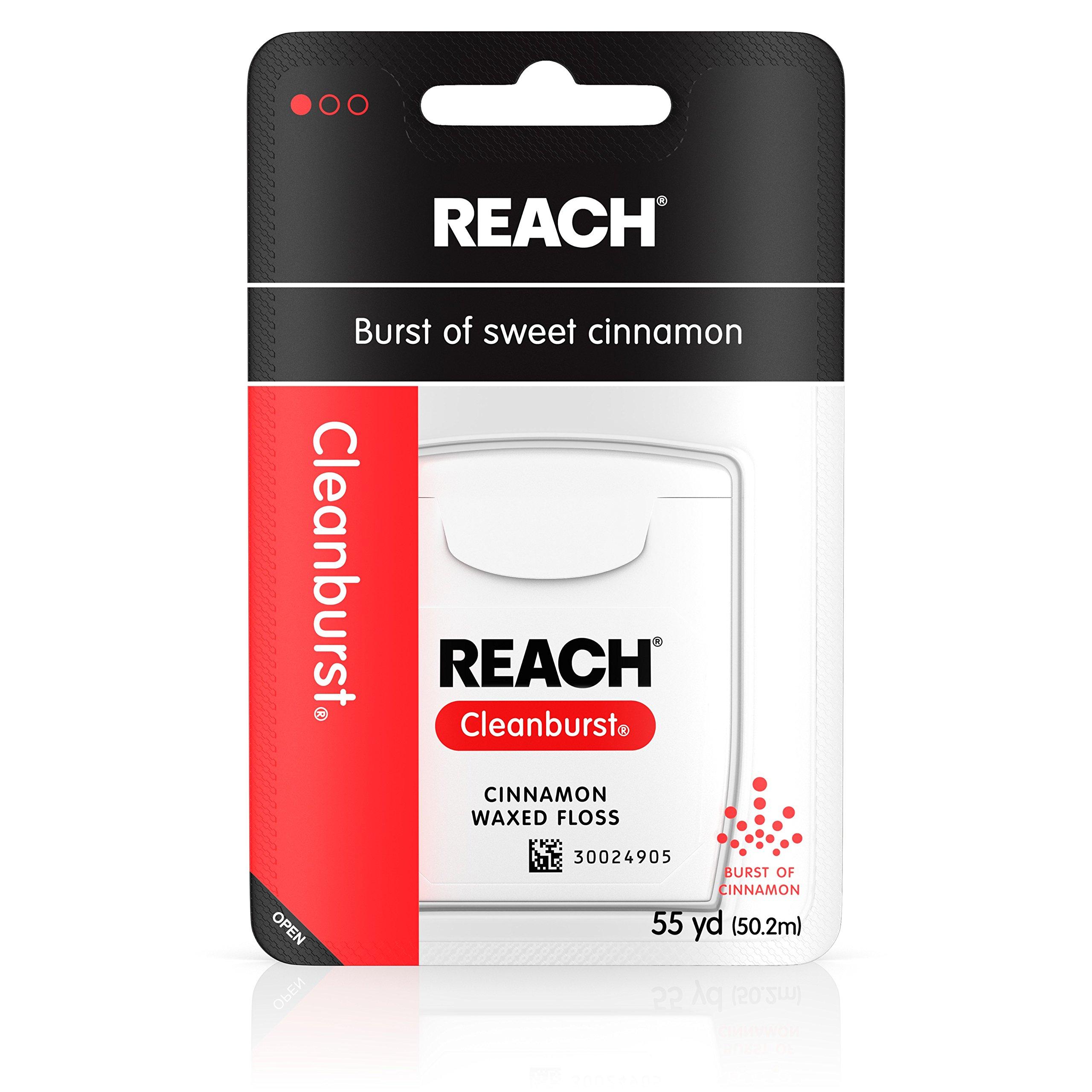Reach Cleanburst Waxed Floss, Cinnamon, 55 Yd (pack of 6)