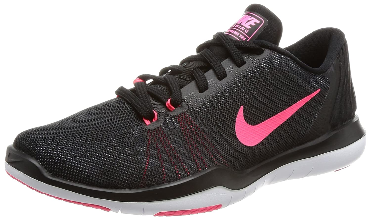 NIKE Women's Flex Supreme TR 5 Cross Training Shoe B01N0T9LR7 7 B(M) US|Black/White/Racer Pink/Dark Grey