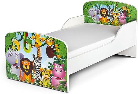 Leomark Cama Infantil Completa de Madera - Jirafa Elefante - Marco de Cama, Colchón, Somier, Blanco Muebles para Niños, Moderno Dormitorio, Impresa ...