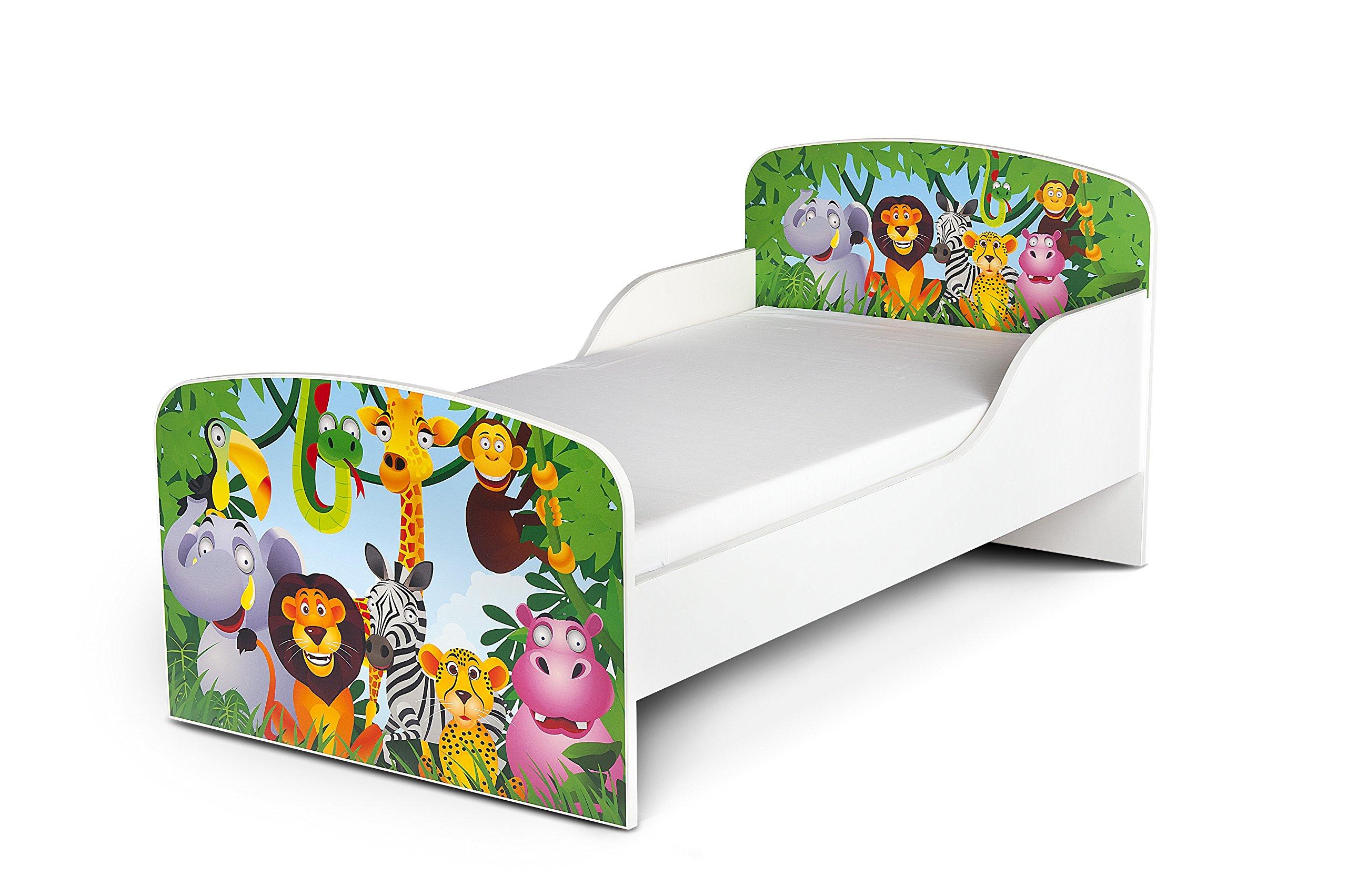 Letto Lettino Per Bambini In Legno e Materasso Magnifiche Stampe Mobili Per Bambini Attrezzatura Stanza Per Bambino Dimensioni 140x70 Animali Zoo product image