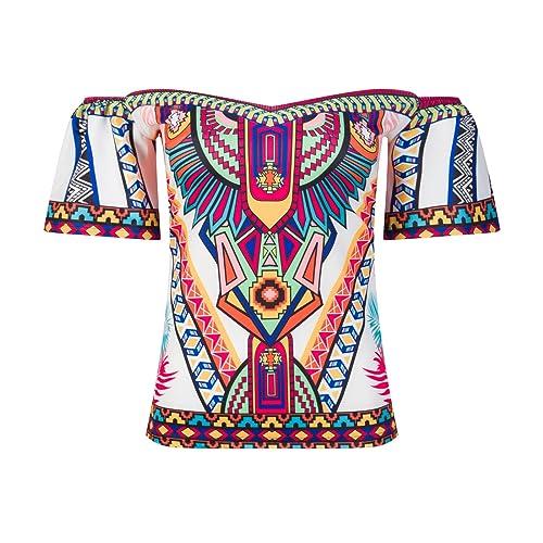 Beauty7 Off Hombro Cold Shoulder Florales Colores Impresiones Camisetas Mujer Verano Playa Vacacione...