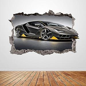 Lamborghini Wall Decal Smashed 3D Graphic Racing Car Wall Sticker Art Mural Poster Custom Vinyl Kids Room Decor Gift UP187 (24