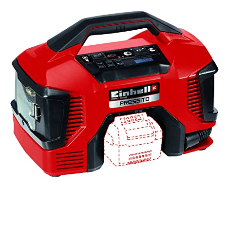Einhell Compresor Híbrido Pressito Power X-Change (Li-Ion, con cable de corriente o batería recargable; incluye conjunto de inflado de 3 piezas; sin ...