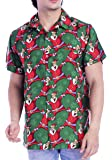 Funny Mens Christmas Hawaiian Shirts Laughing Santa Claus Front Pocket