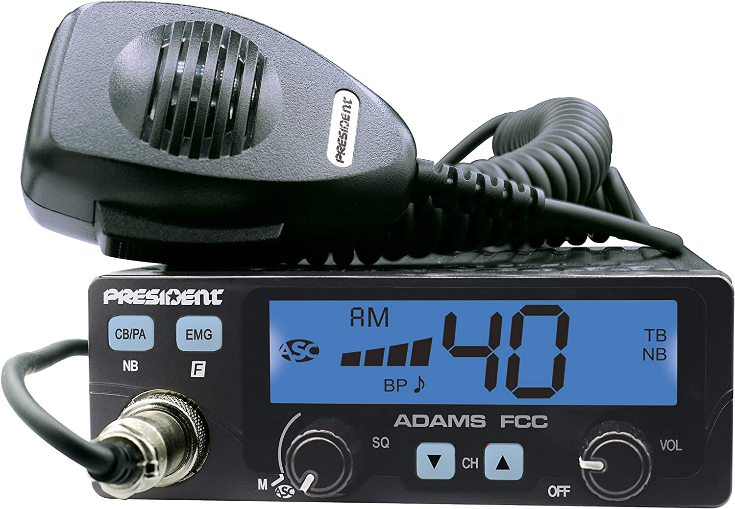 Large LCD with 7 Colors Programmable EMG Channel Shortcuts Electret or Dynamic Mic President Adams FCC CB Radio Roger Beep and Key Beep Talkback ASC and Manual Squelch