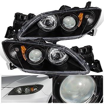 For Mazda 3 4 Door Sedan Front Bumper Projector Headlight Head Lamp Black  Housing Clear Lens Amber Reflector Upgrade Assembly Pair Left Right
