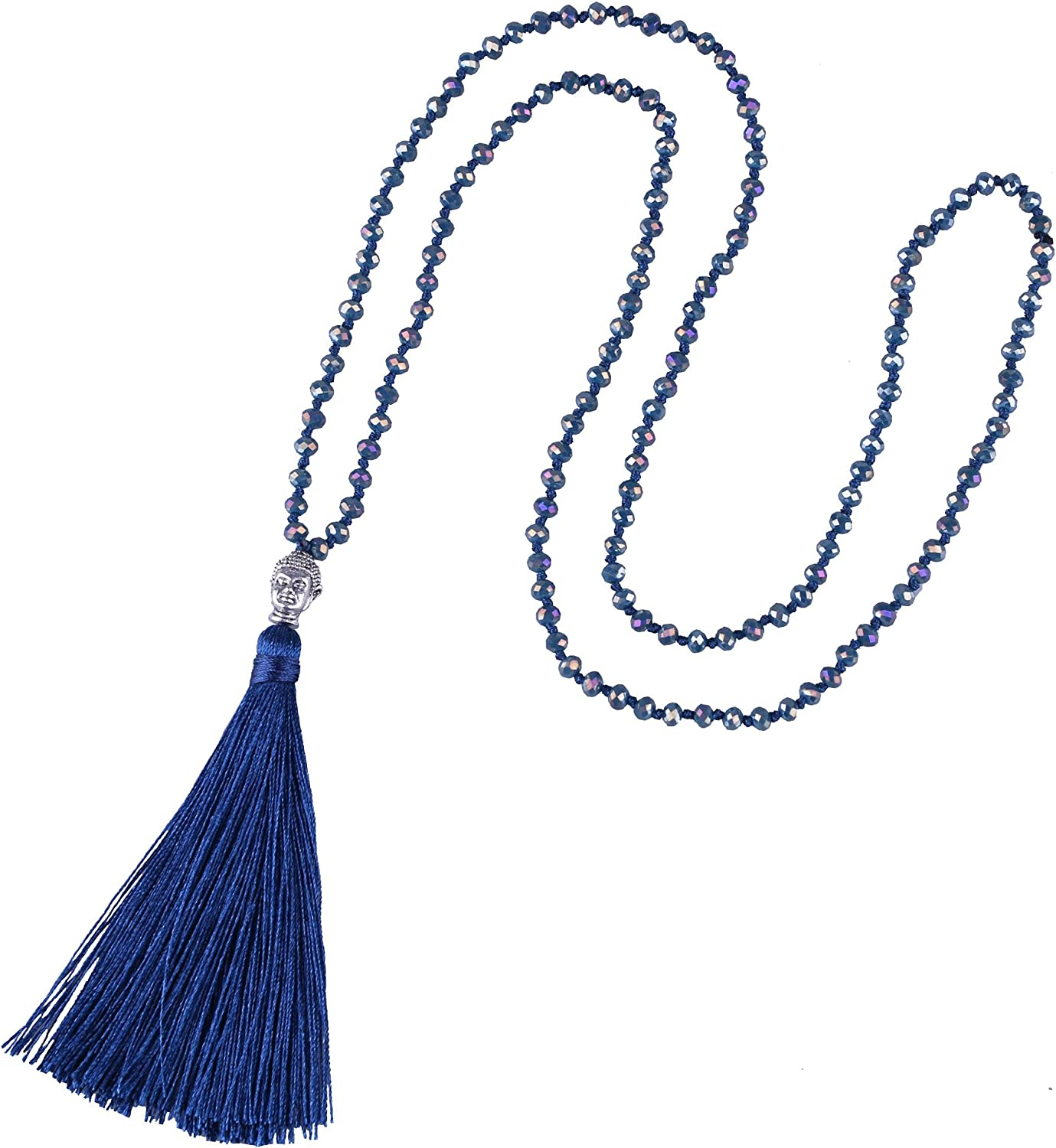 KELITCH Tassel Beads Necklace Buddha Strand Long Statement Jewelry for Women