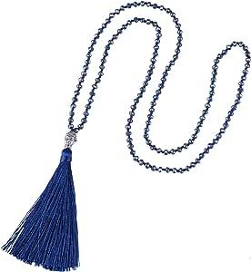 KELITCH Collar de Cuentas de Cristal con borlas para Mujer, Colgante de Cabeza de Buda Plateado Hecho a Mano