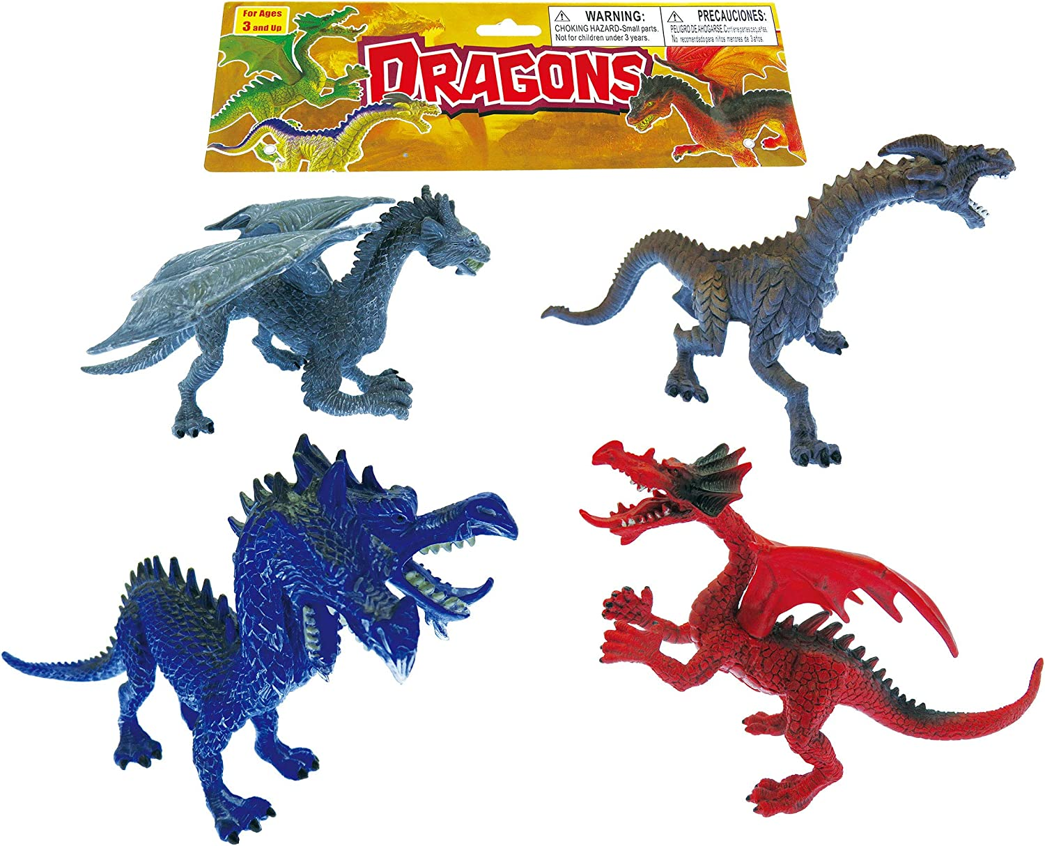 Lot Of 3 Plastic Dragons Figure Toy Cake Topper Fantasy Mystical