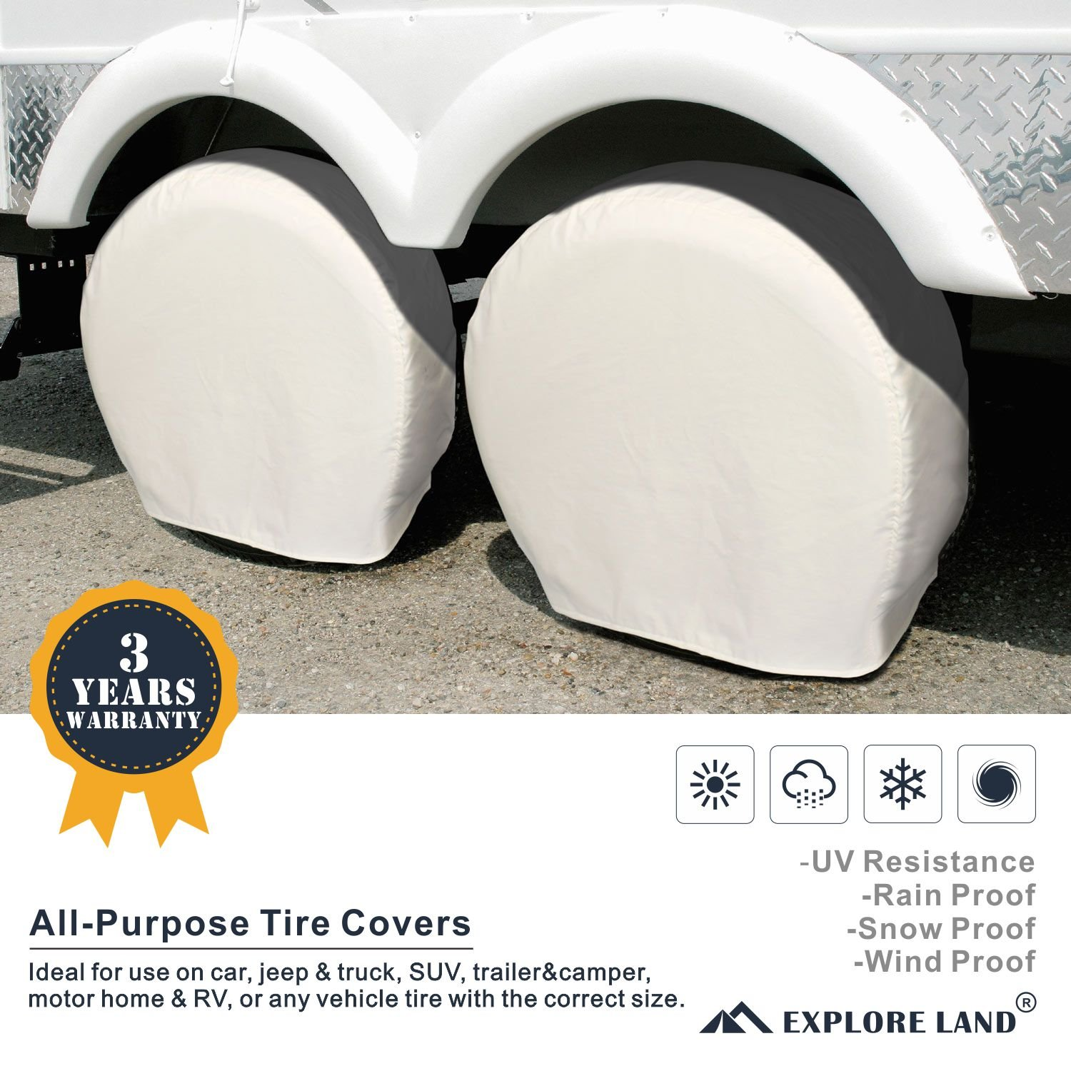 Explore Land Tire Cover 2 Pack For RV motorhome camper travel trailer truck Jeep SUV Tough Vinyl Wheel Protector Black Universal Fits Tire Diameters 32-34.75 inch
