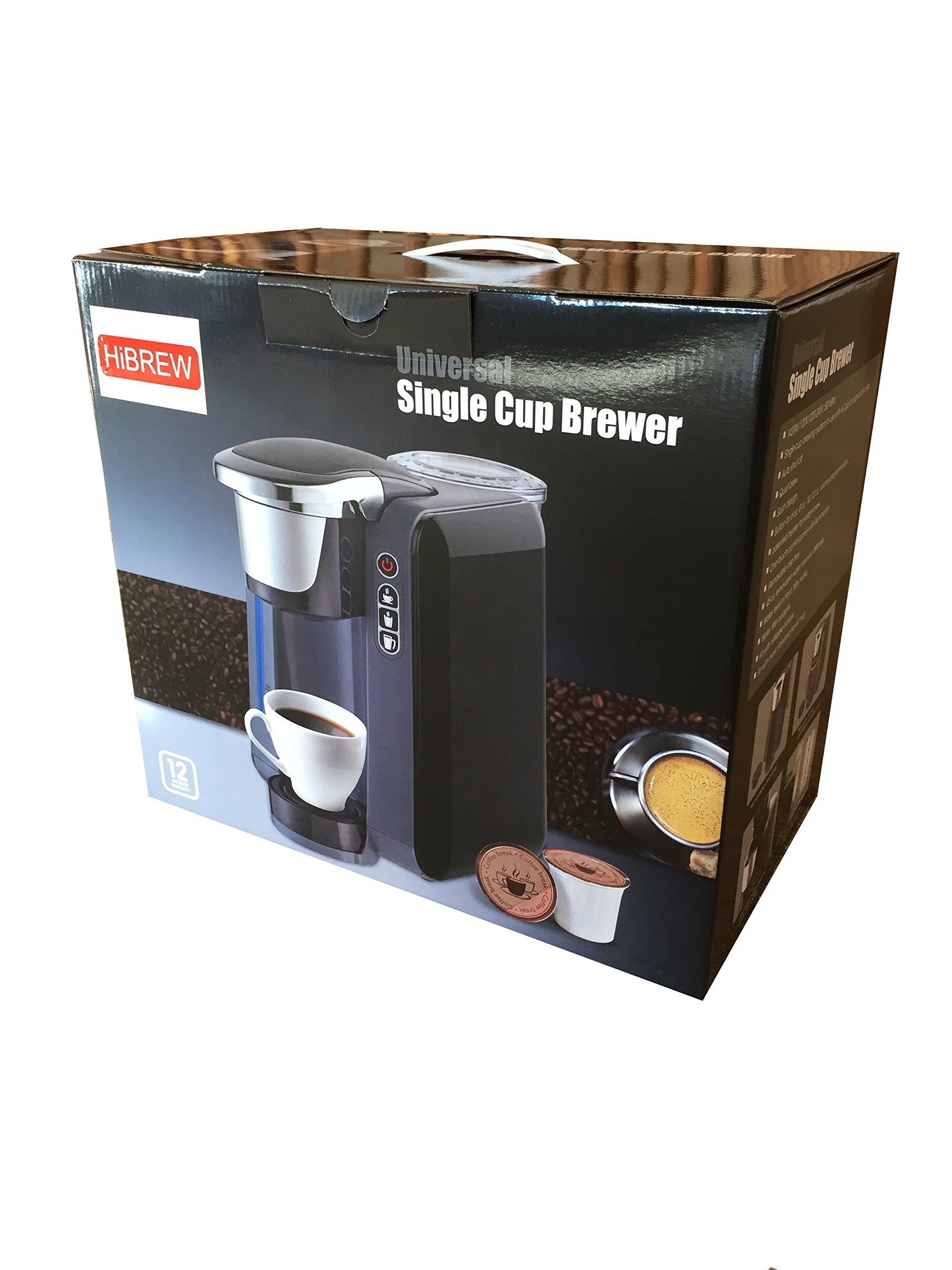 HiBREW Single Serve Programmable K Cup Coffee Maker Brewing System Coffee Machine (Black) by HiBREW