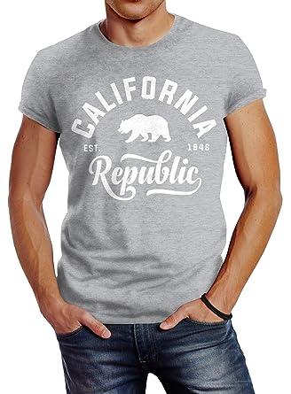 Neverless Stylishes Herren T Shirt California Republic Slim Fit