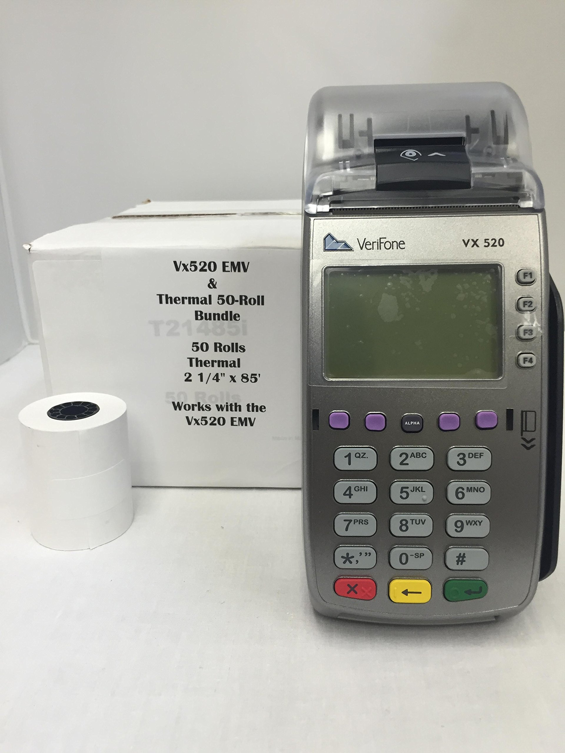 Verifone Vx520 EMV Credit Card Terminal and 2 1/4''x 85' Thermal Paper (50 rolls)