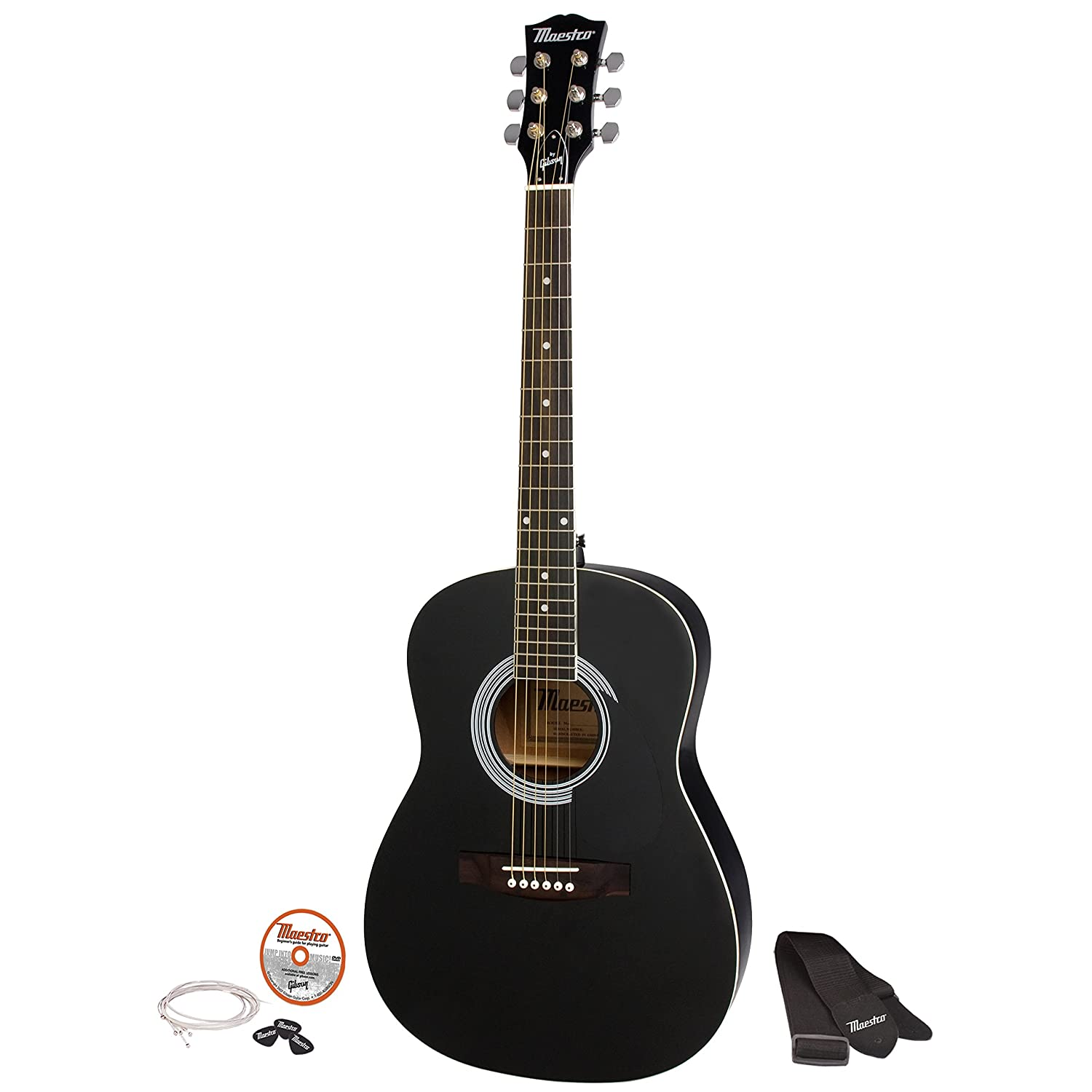 gibson maestro 38 parlor size acoustic guitar ebony with accessories ebay. Black Bedroom Furniture Sets. Home Design Ideas