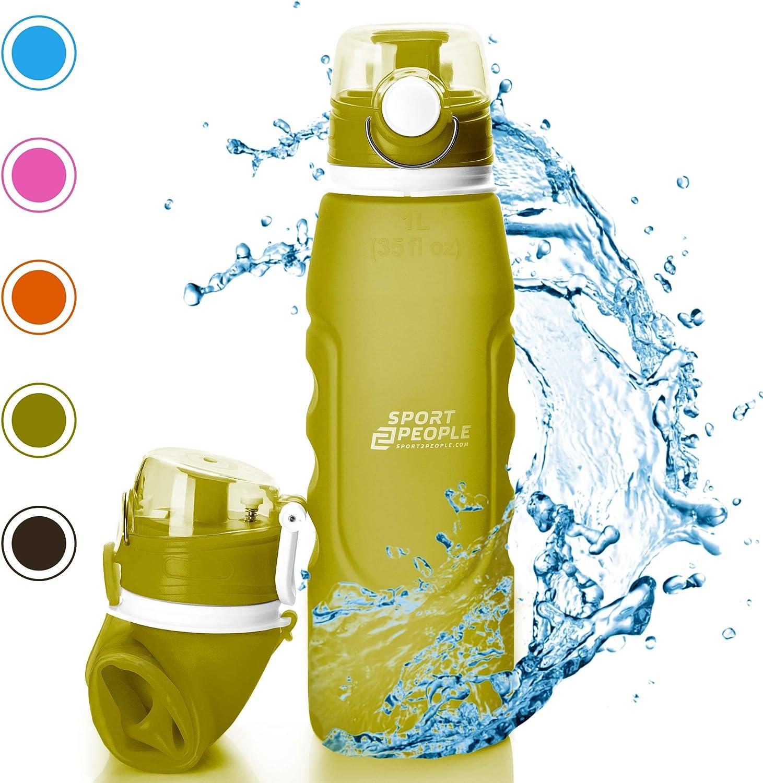sport2people Botella de Agua Plegable de Silicona de 1 L, Calidad médica, sin BPA, con válvula de Seguridad para Viajes, Deportes, Exteriores, Camping