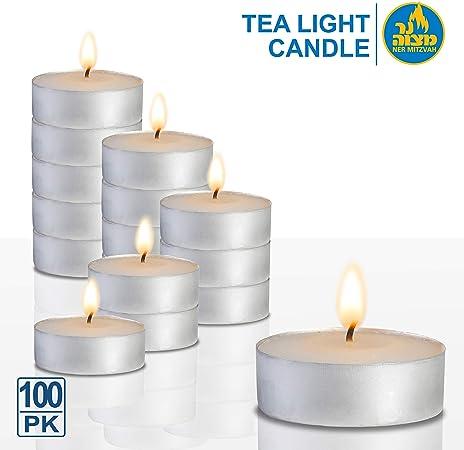 Ner Mitzvah - Velas de Té - Pack de 100 velas - Velas Blancas, para Centros de Mesa y Viaje 3 Horas de Duración de Encendido - Cera Prensada: Amazon.es: Hogar
