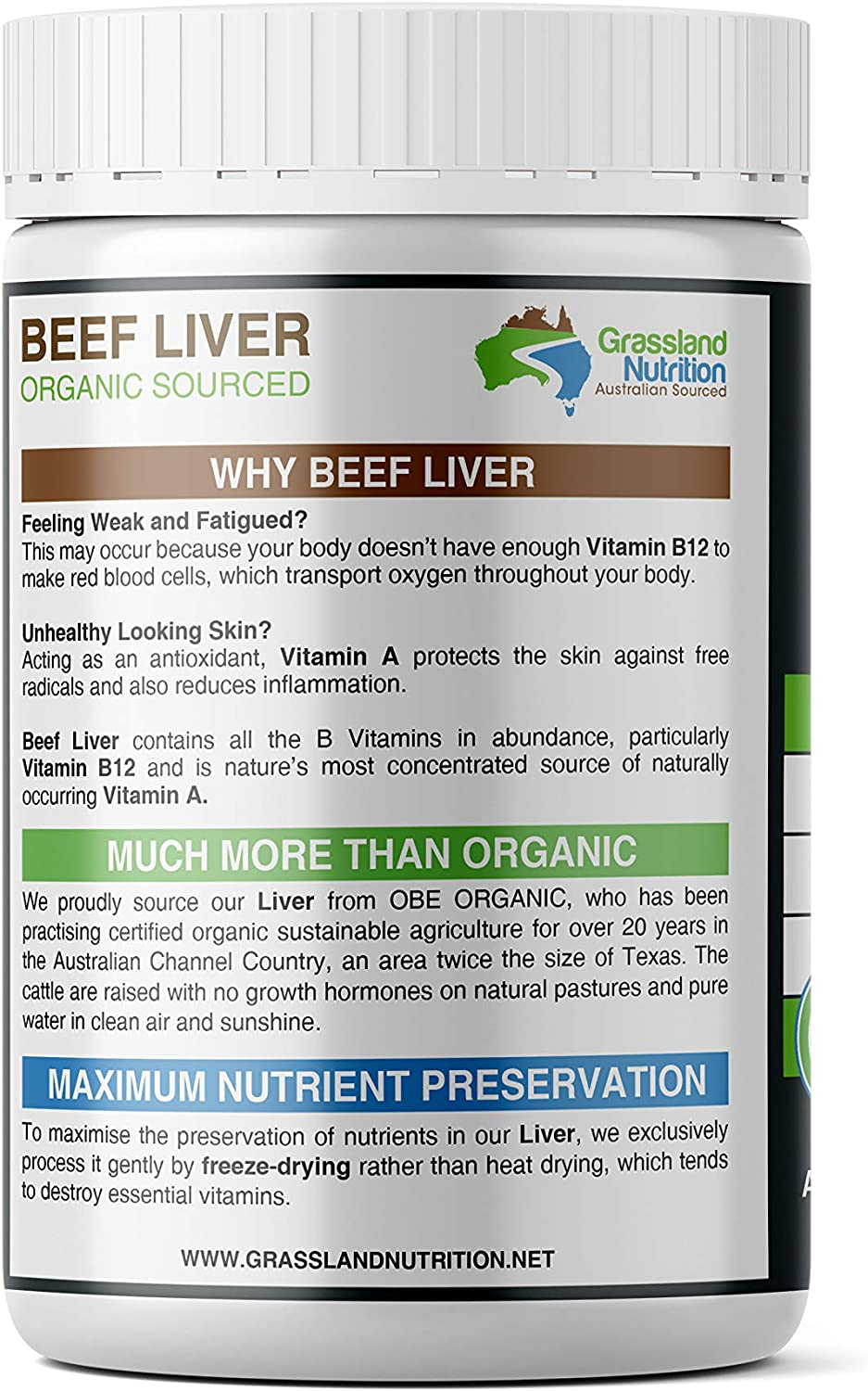 Amazon Com Grassland Nutrition Grass Fed Beef Liver 100 Organic Sourced Natural B12 For Energy Iron Vitamin A 180 Capsules Health Personal Care