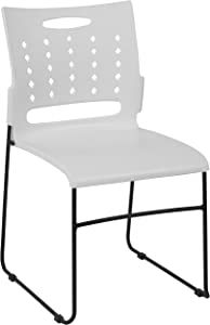 Flash Furniture HERCULES Series 881 lb. Capacity White Sled Base Stack Chair with Air-Vent Back