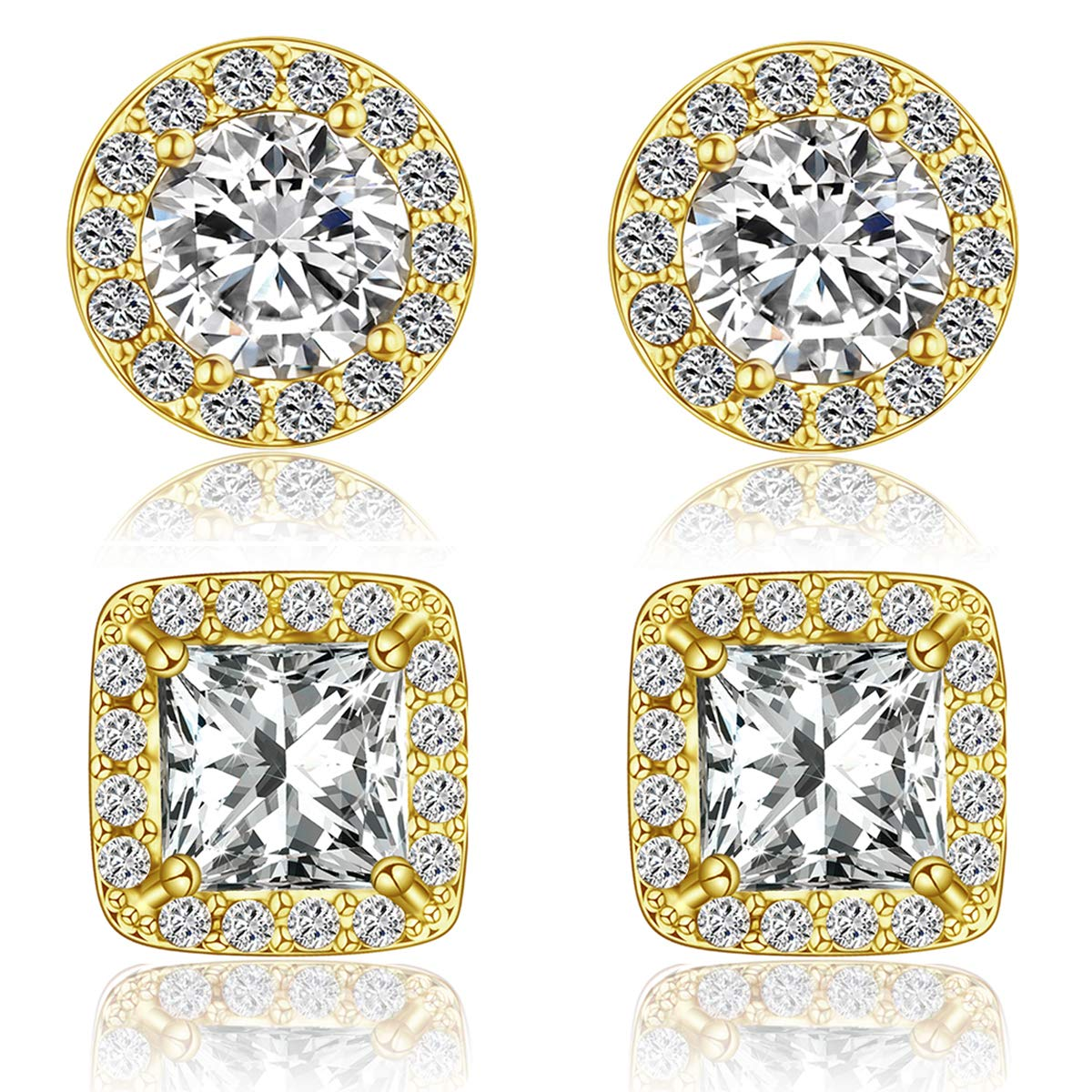 Quinlivan Duo 2 Pairs Premium Halo Stud Earrings, Round Princess Cut Cubic Zirconia Earrings Sets Lightweight for Women, Girls Girls (gold)