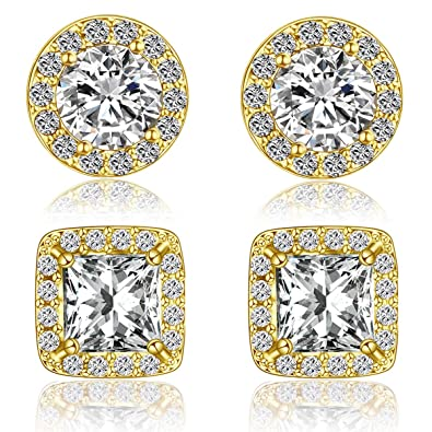 f3a6fac45 Quinlivan Duo 2 Pairs Premium Halo Stud Earrings, Round Princess Cut Cubic  Zirconia Earrings Sets