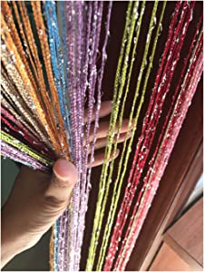 Eyotool 1x2 M Door String Curtain Rare Flat Thread Fringe Panel Room Divider Cute Strip Tassel for Wedding Coffee House Restaurant Parts (Multicolor)